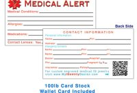 Images Of Template For Cards Free Medical Identification regarding Medical Alert Wallet Card Template