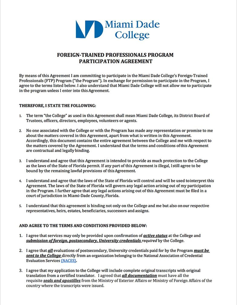 Important Forms For The Foreign Trained Professionals Program At With Regard To Program Participation Agreement Template