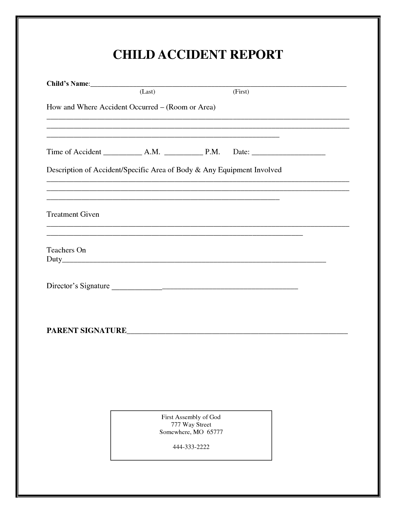 Incident Report Form Child Care  Child Accident Report Regarding Incident Report Log Template