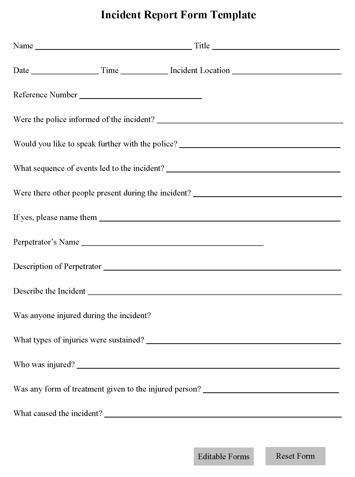 Incident Report Form Template  Editable Forms Intended For Incident Report Form Template Word