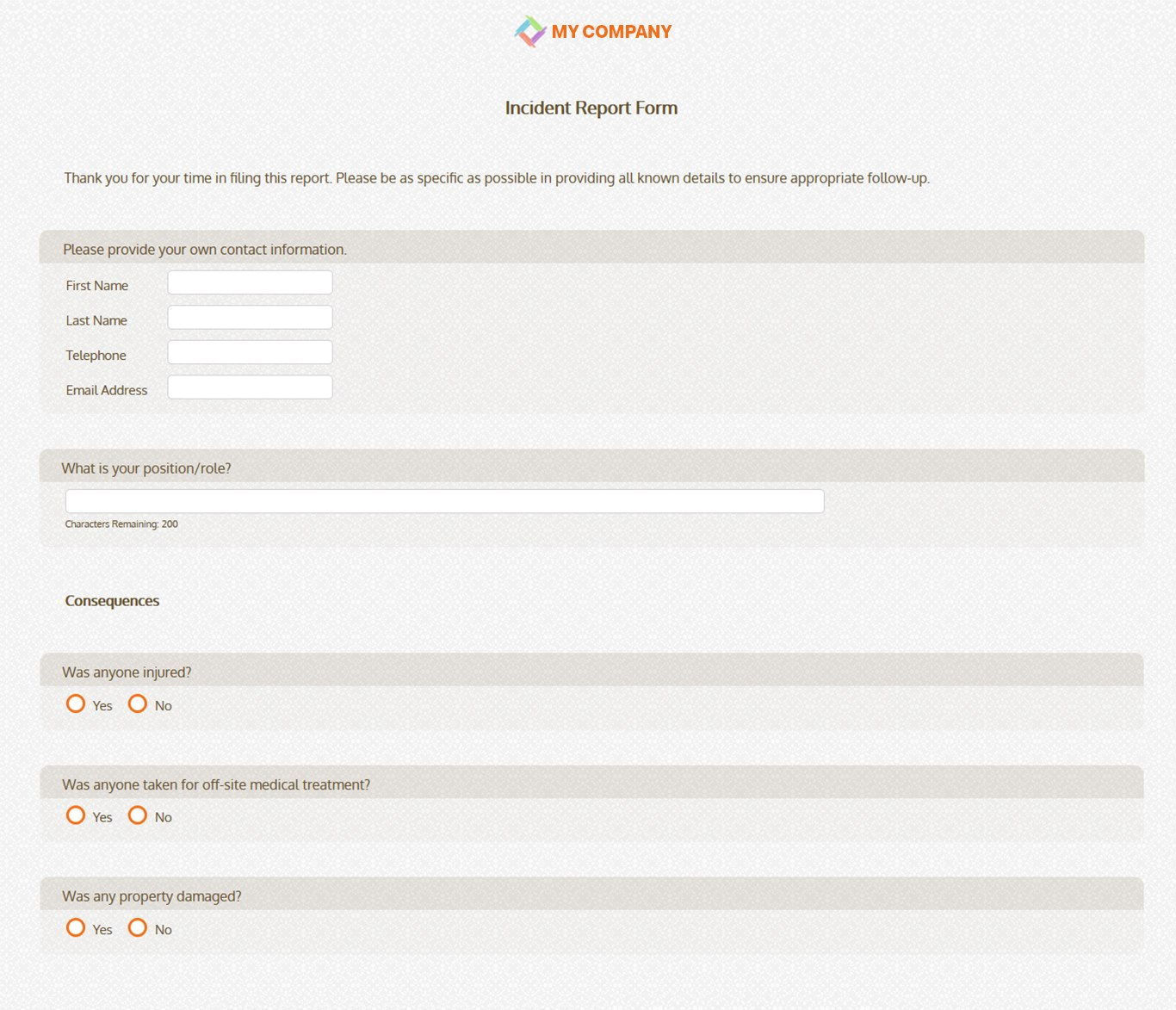 Incident Report Form Template  Questions  Sogosurvey With It Issue Report Template