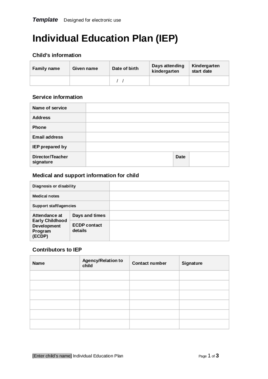 Individual Education Plan  Fillable Printable Pdf  Forms With Blank Iep Template
