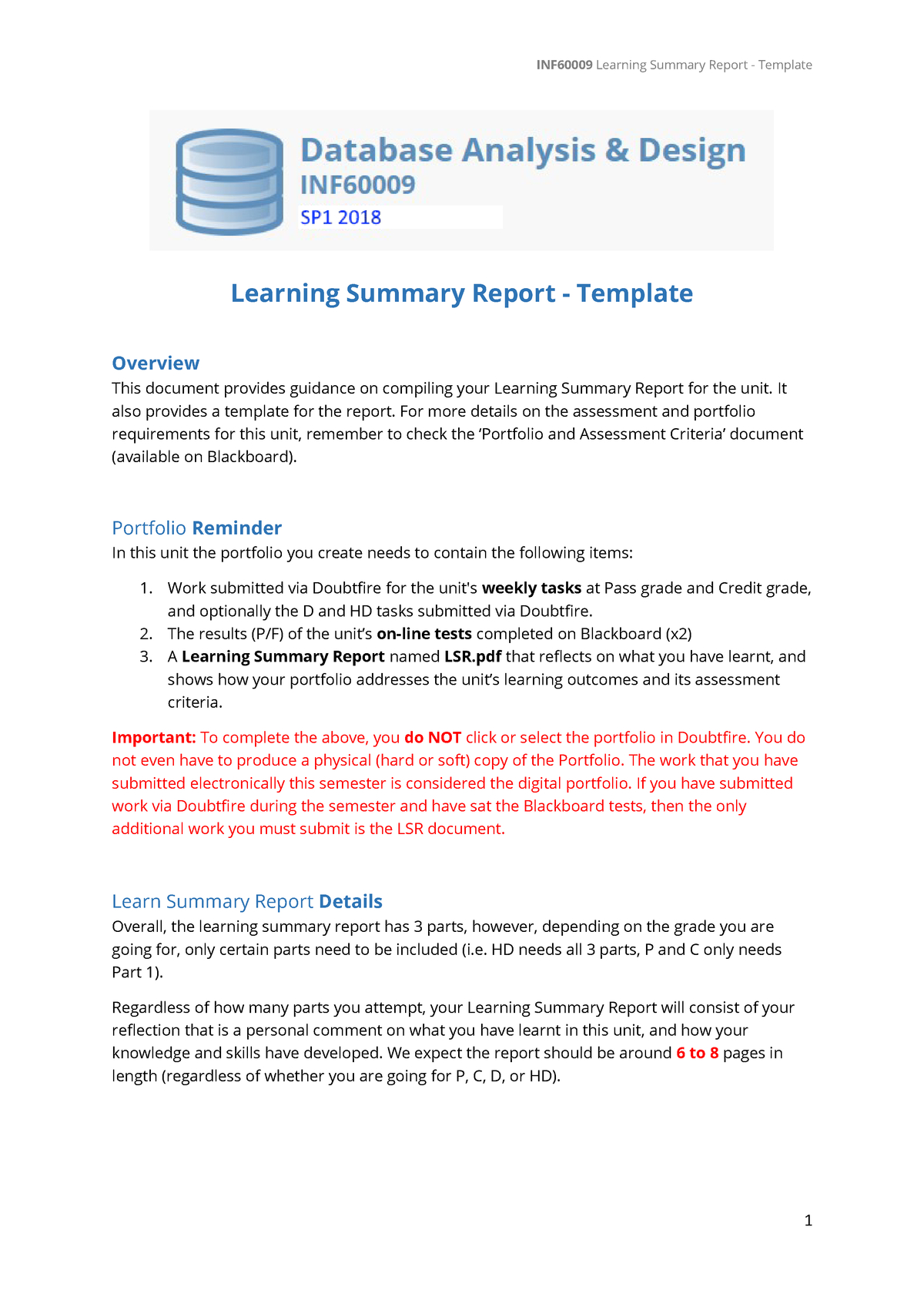Inf Lsr Template  Databas Learning Summary Report  Maitpc In Training Summary Report Template