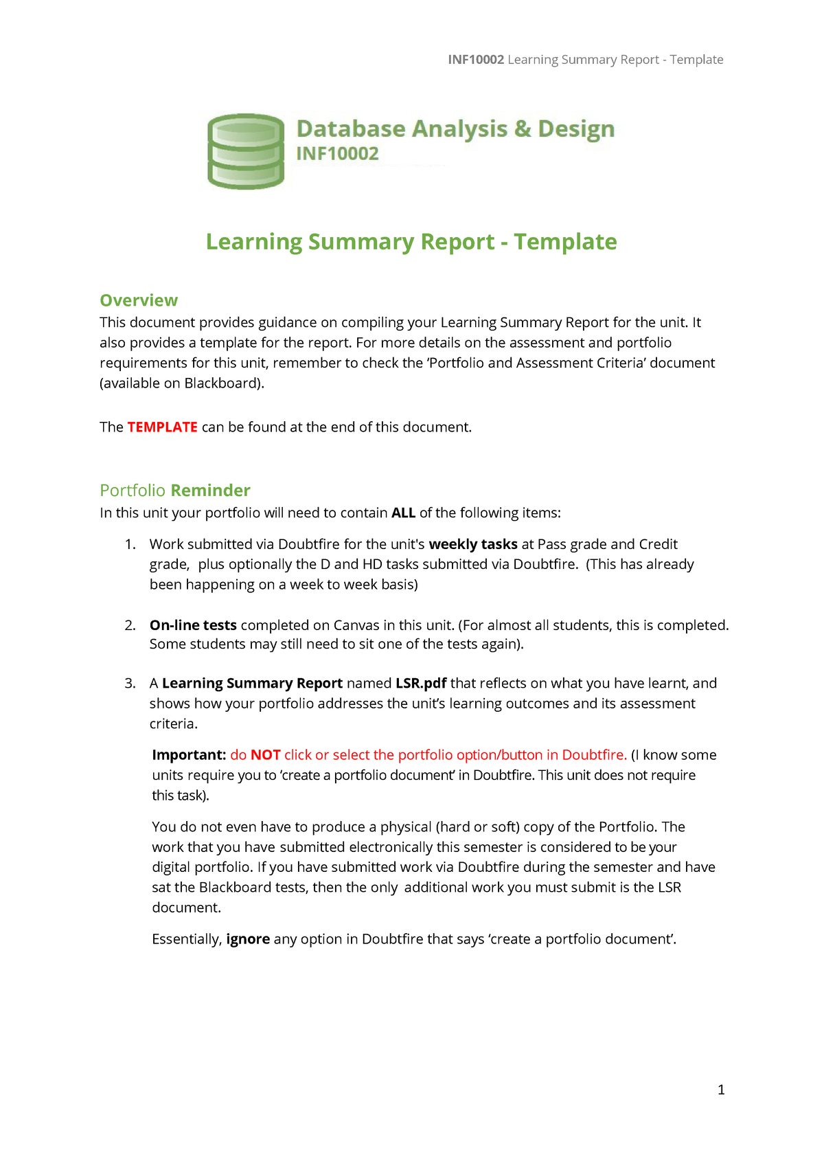 Inf Lsr Template  Inf Database Analysis And Design  Studocu Inside Training Summary Report Template