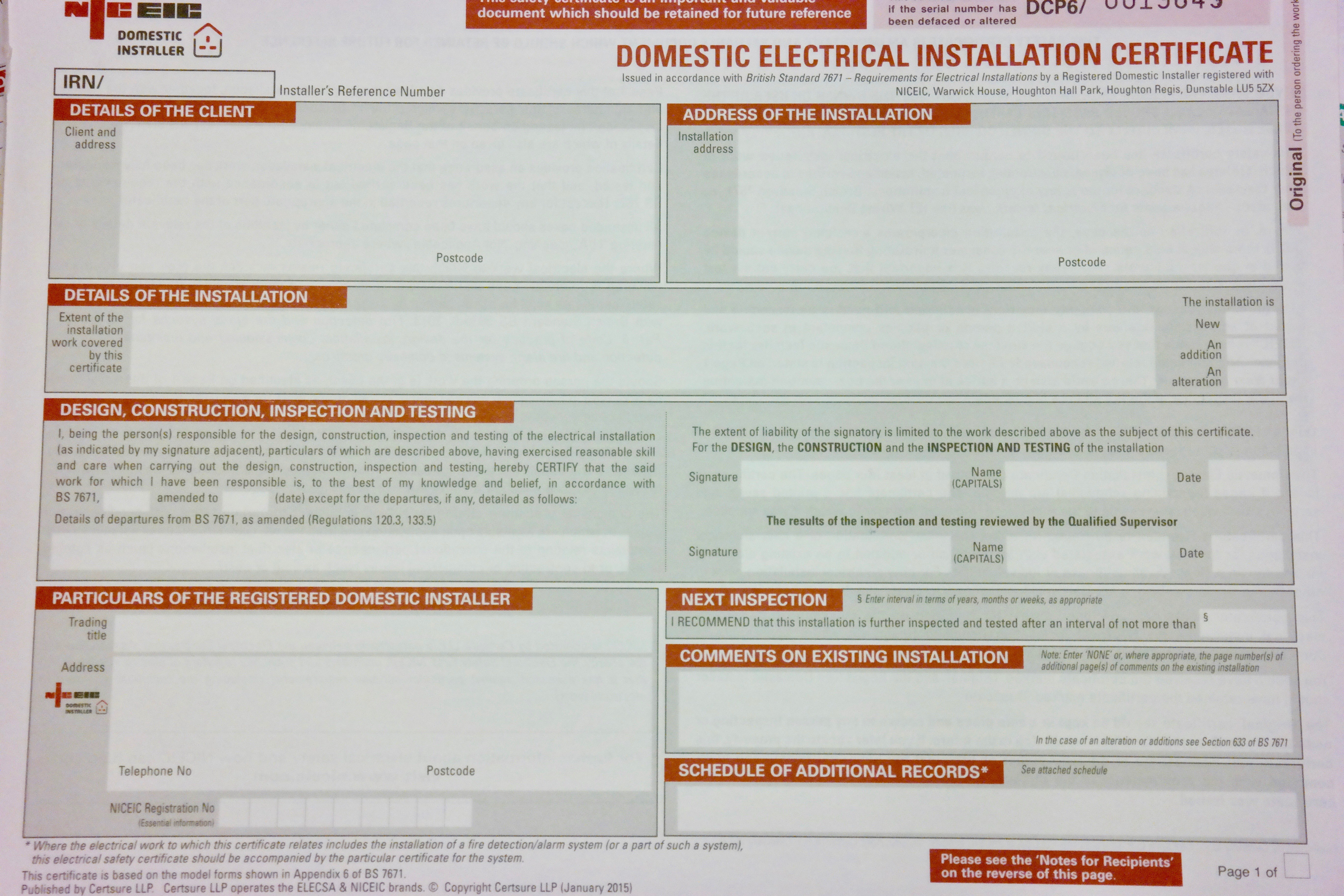 Inspections Certification  Testing  Auber Electrical Regarding Electrical Minor Works Certificate Template