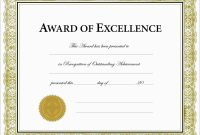 Inspirational Award Certificate Template Free  Best Of Template pertaining to Award Of Excellence Certificate Template
