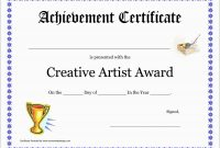 Inspirational Award Certificate Template Free  Best Of Template regarding Art Certificate Template Free