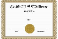 Inspirational Award Certificate Template Free  Best Of Template throughout Free Certificate Of Excellence Template