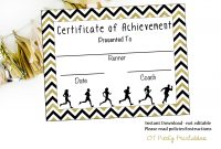 Instant Download  Cross Country Certificate  Track And Field  Running  Certificate  Jogathon Printable  Running Achievement throughout Track And Field Certificate Templates Free