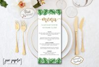 Instant Download Palm Leaf Menu Template Pineapple  Etsy for Hawaiian Menu Template