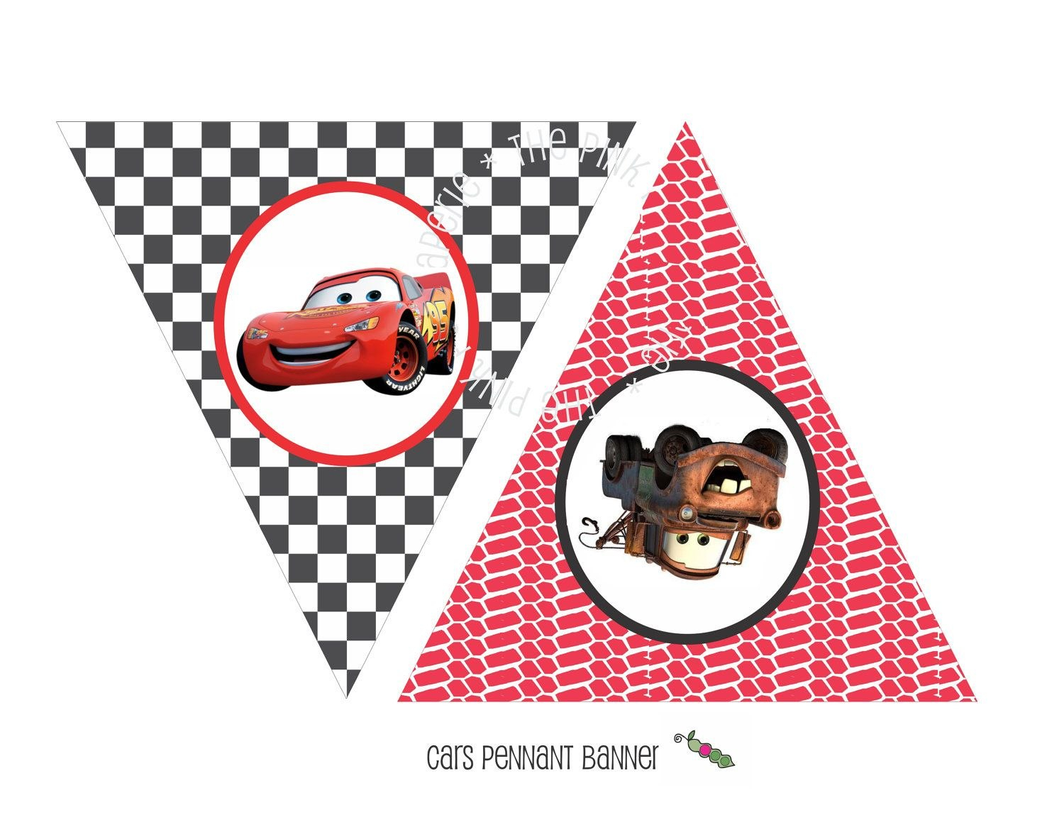 Instant Download  Printable Cars Themed Happy Birthday Banner With Cars Birthday Banner Template