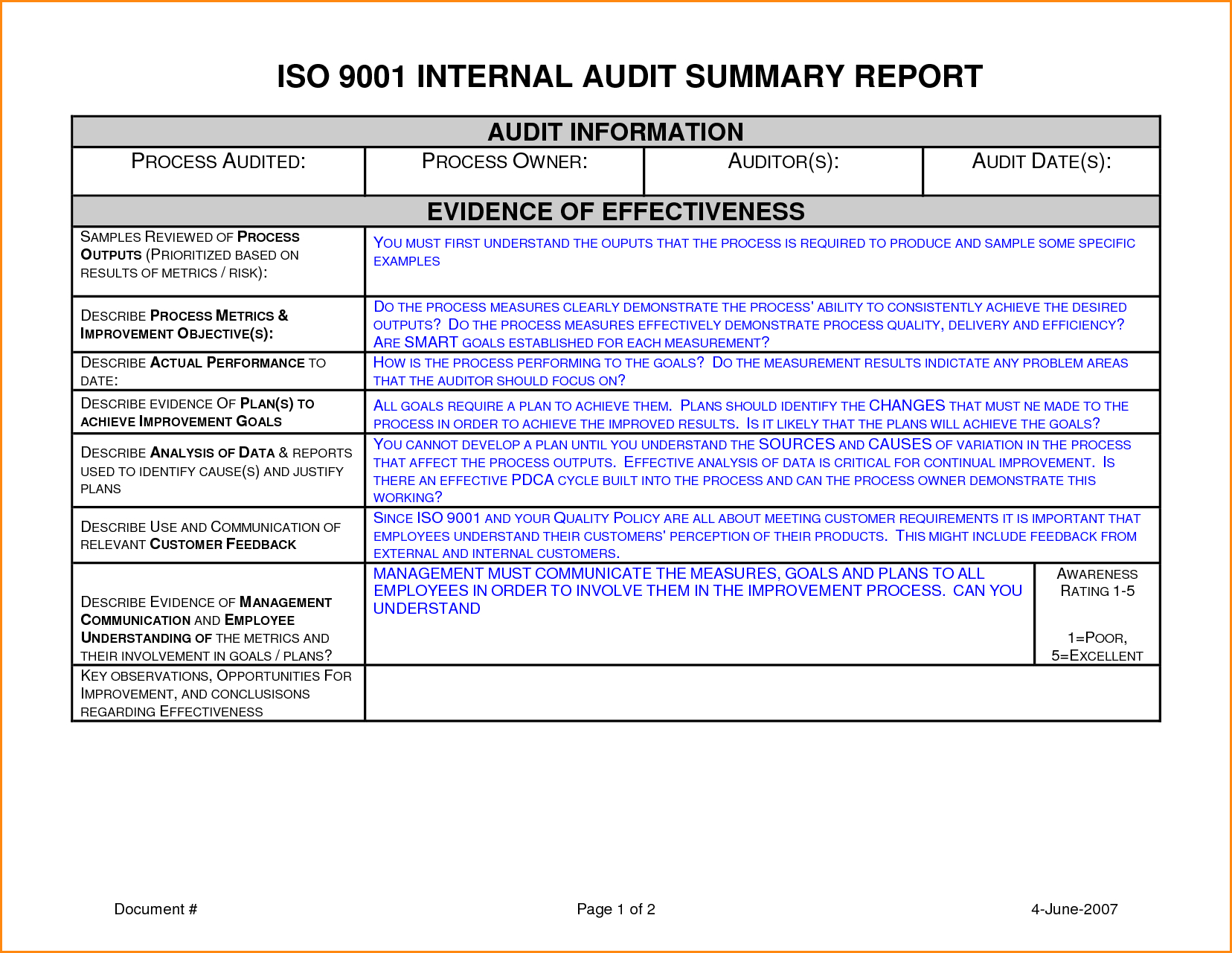 Internal Audit Report Template Ideas Sample  Unbelievable With Regard To Internal Audit Report Template Iso 9001