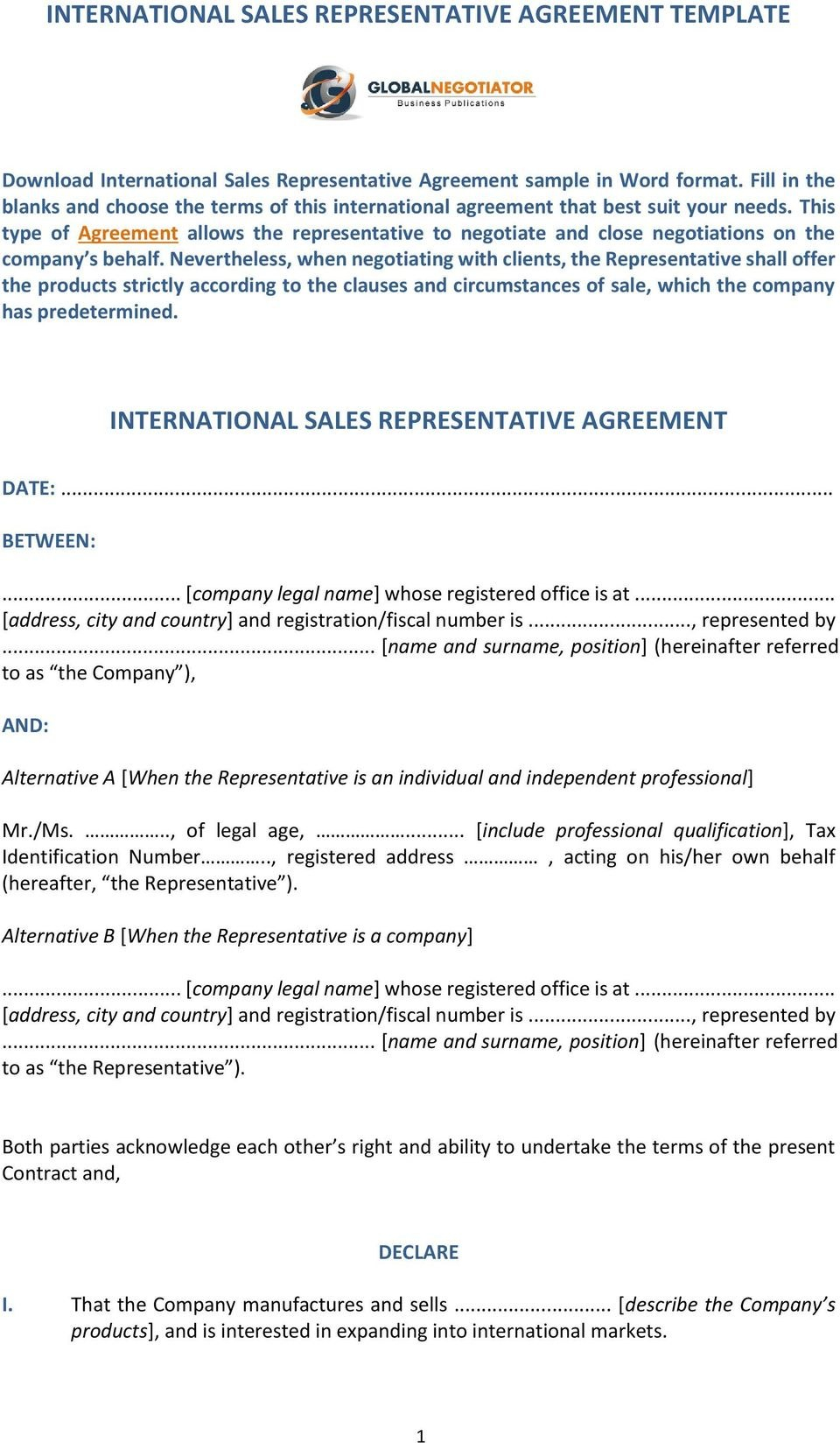 International Sales Representative Agreement Template International Pertaining To Appointed Representative Agreement Template