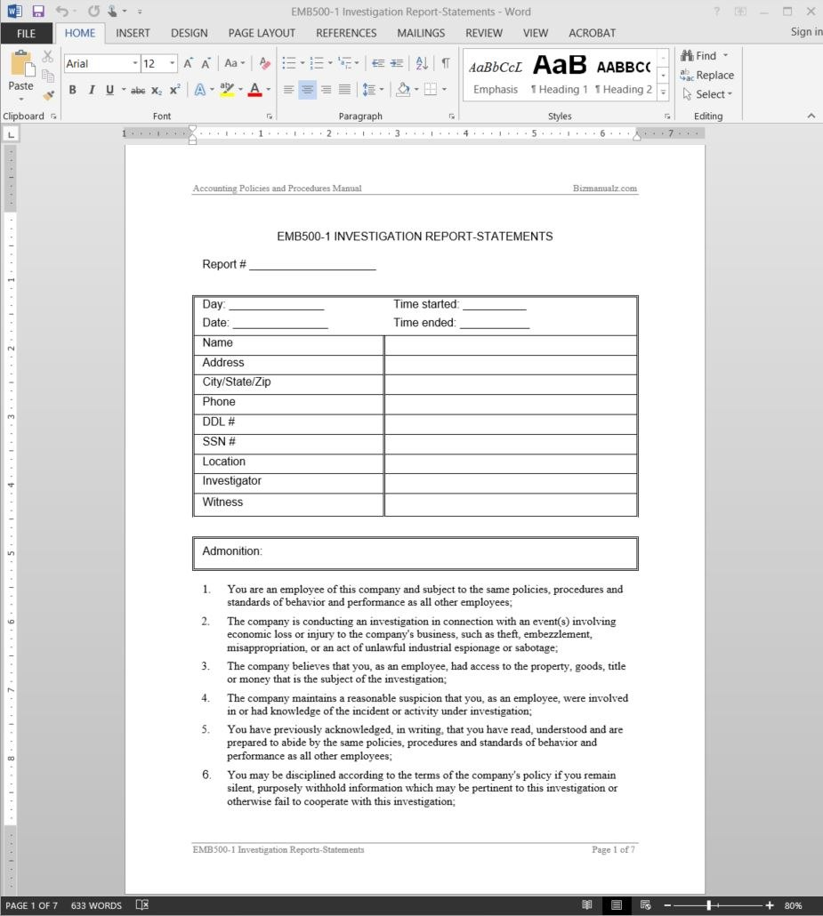 Investigation Report Template Pertaining To Hr Investigation Report Template