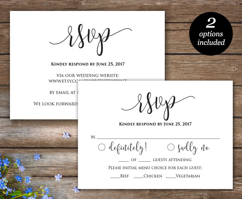 Invitations Endearing Rsvp Wedding Cards Inspirations — Claudiapink In Wedding Rsvp Menu Choice Template