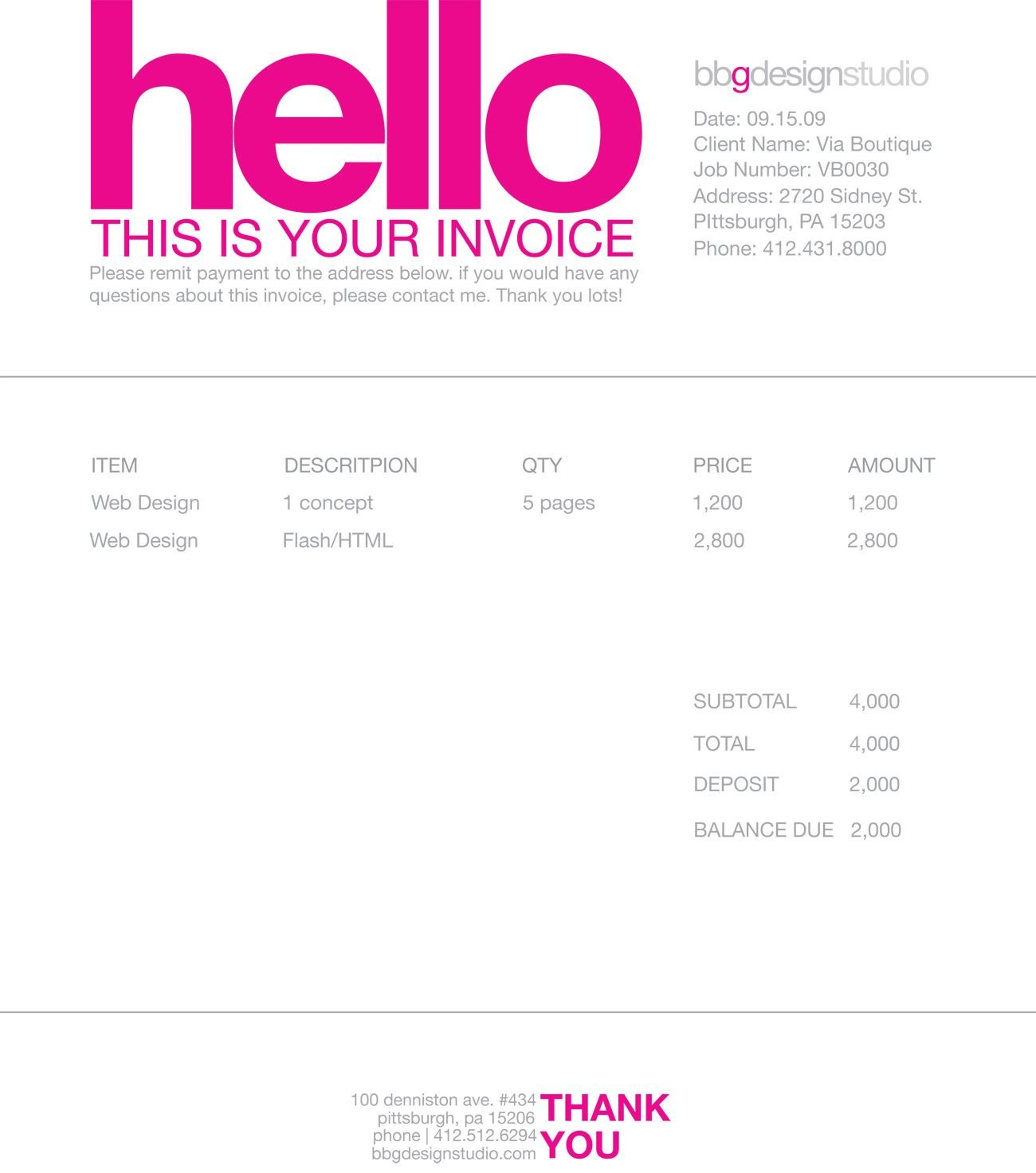 Invoice Like A Pro Design Examples And Best Practices  Design In Invoice Template For Graphic Designer Freelance