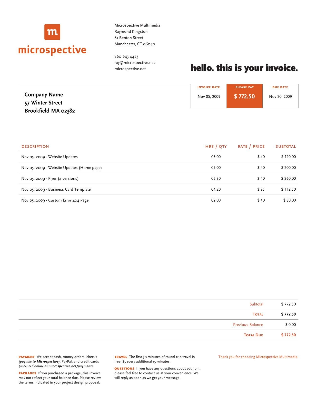 Invoice Like A Pro Design Examples And Best Practices  Teaching With Graphic Design Invoice Template Word