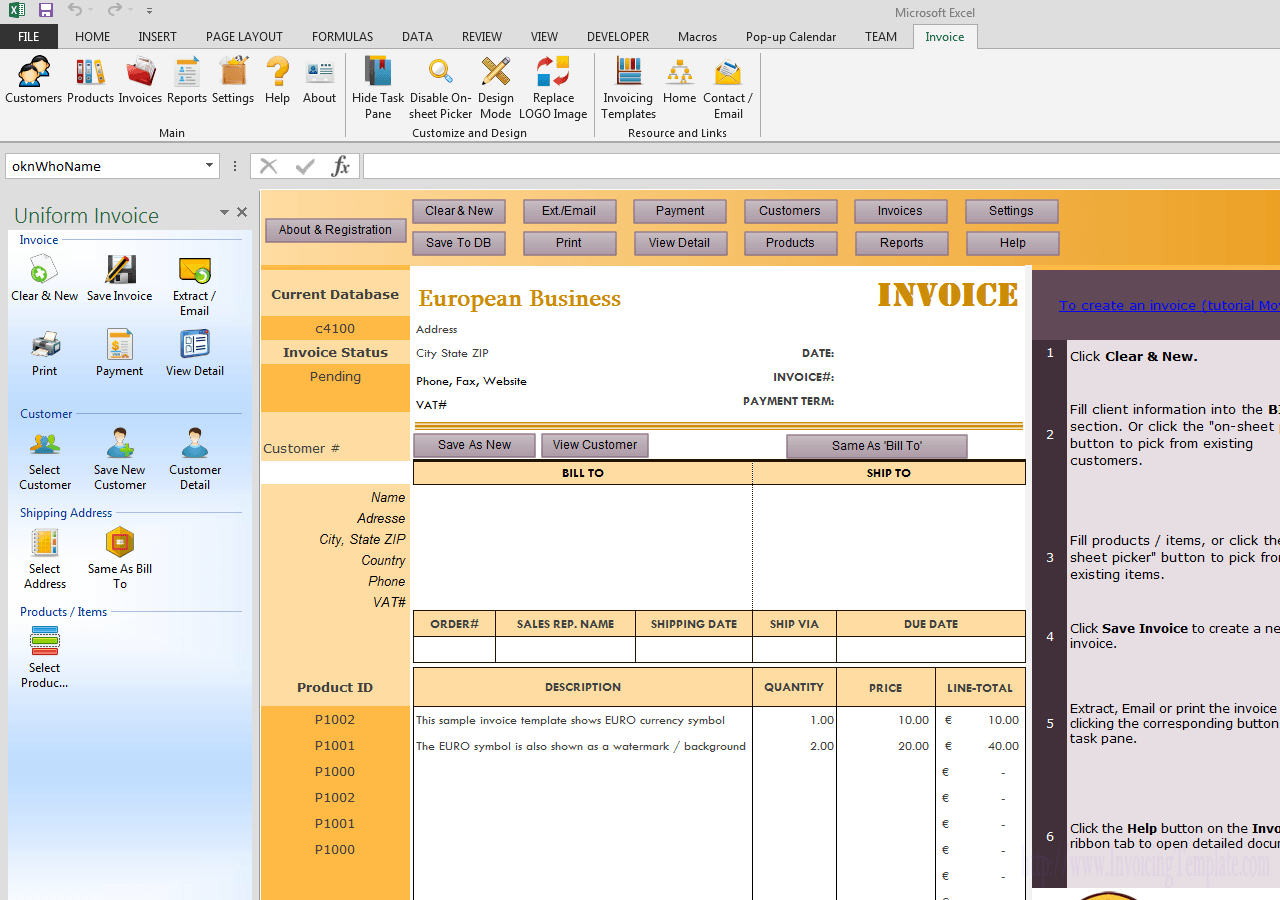 Invoicing Template In Euros For European Invoice Template