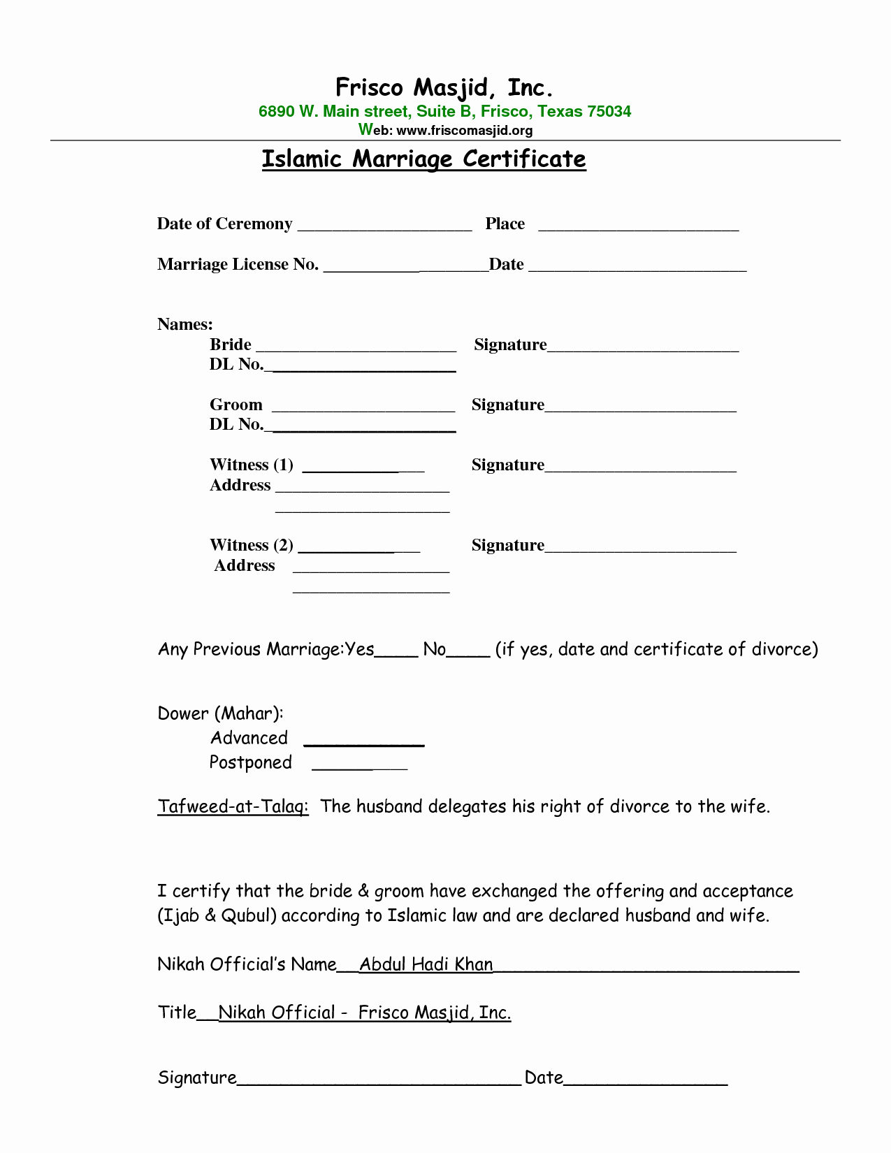 Islamic Marriage Contract Template  Template Modern Design Throughout Islamic Divorce Agreement Template