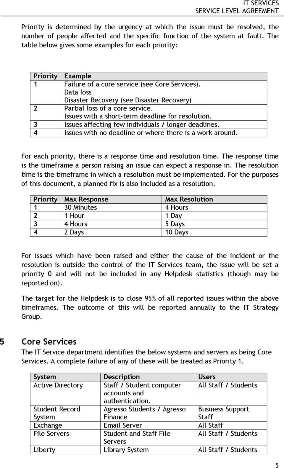 It Services Service Level Agreement  Pdf In Disaster Recovery Service Level Agreement Template