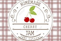Jam Label Design Template For Cherry Dessert Product With Hand throughout Dessert Labels Template