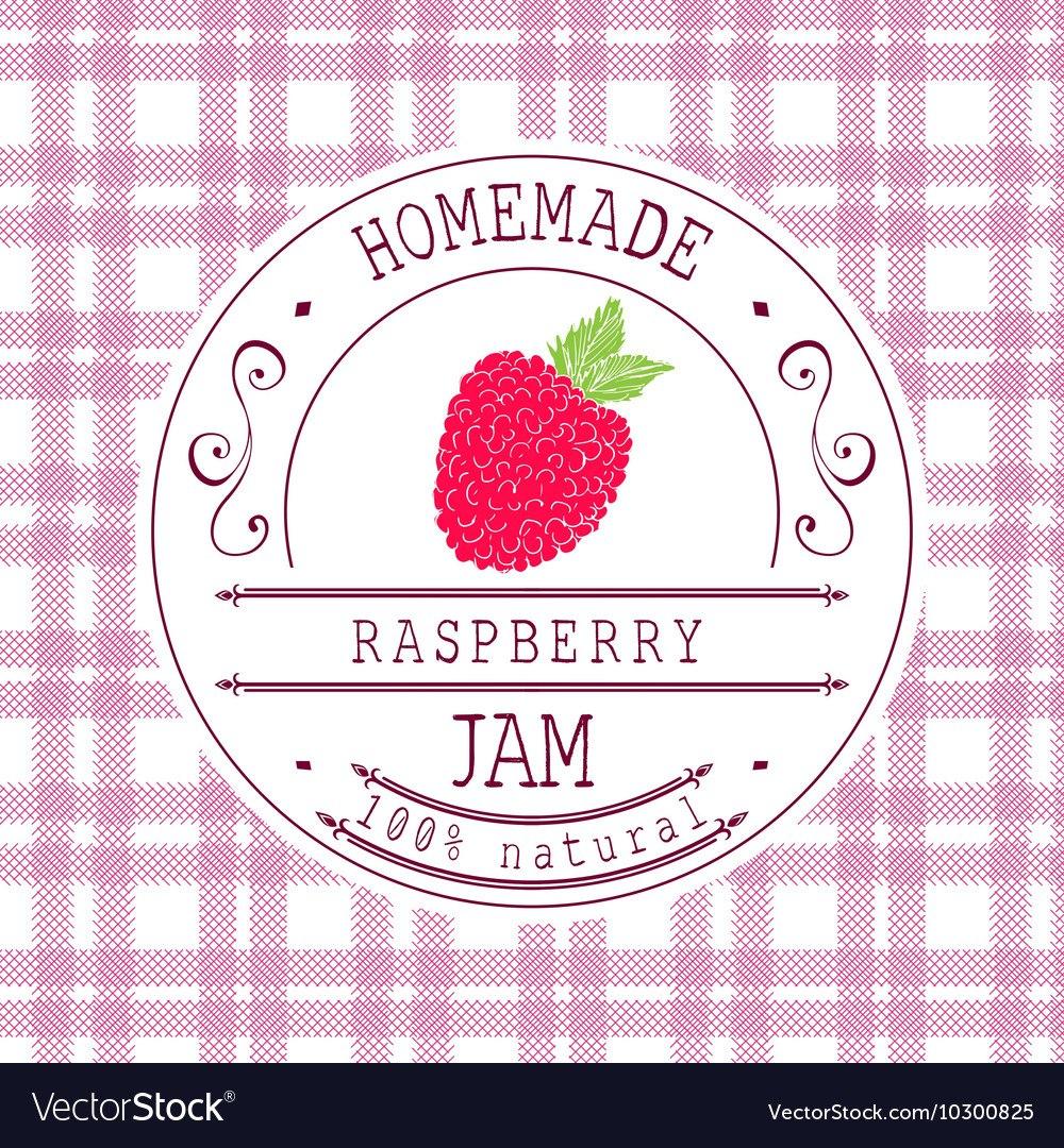 Jam Label Design Template For Raspberry Dessert Vector Image With Regard To Dessert Labels Template