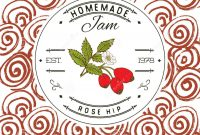 Jam Label Design Template For Rose Hip Dessert Product With Hand inside Dessert Labels Template