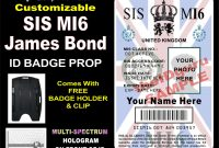 James Bond Sis Mi Id Badge  Card Prop Custom Printed  Etsy pertaining to Mi6 Id Card Template