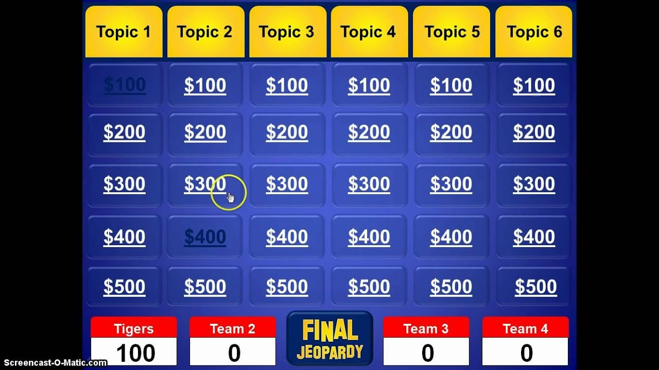 Jeopardy Powerpoint Template  Youtube Throughout Jeopardy Powerpoint Template With Score