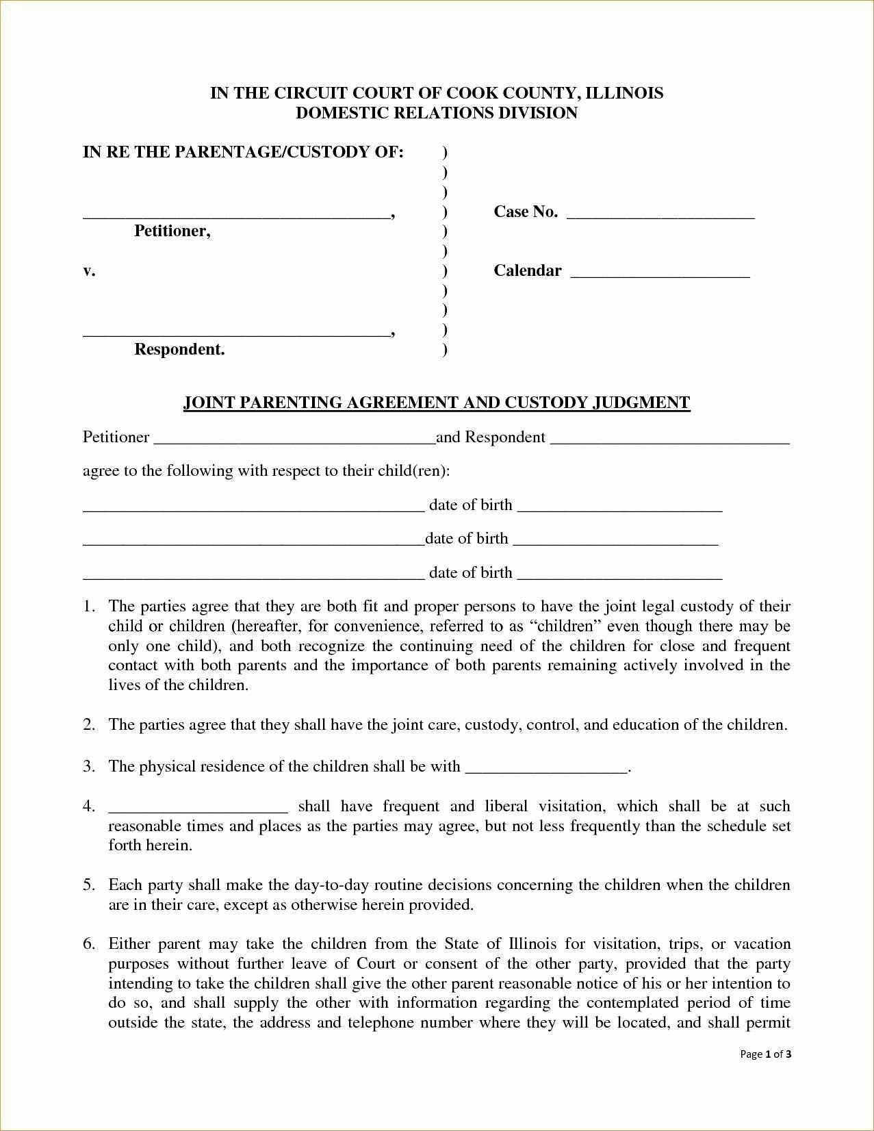 Joint Custody Agreement Template Ideas Child Without Court For Free Joint Custody Agreement Template
