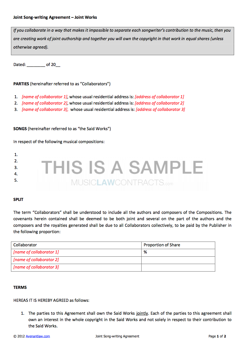 Joint Songwriting Contract Template Pertaining To Songwriter Agreement Template