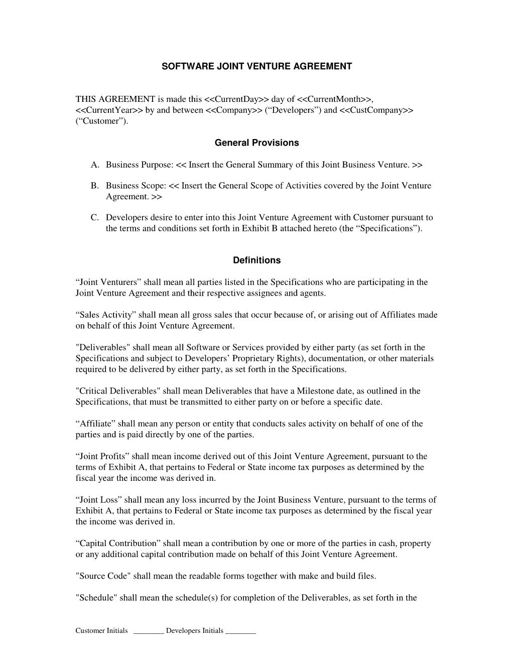 Joint Venture Agreement Templates  Agreement Sample Templates With Free Simple Joint Venture Agreement Template