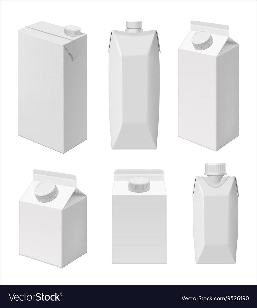 Juice And Milk Blank Packaging Template Royalty Free Vector Inside Blank Packaging Templates