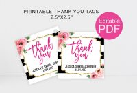 Kate Thank You Tags Template Diy Floral Thank You Tag Kate within Bridal Shower Label Templates