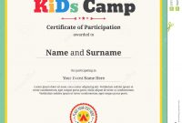 Kids Certificate Template In Vector For Camping Participation Stock throughout Free Kids Certificate Templates