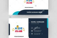 Kids Club Business Card Design Template Visiting For Your Company with Id Card Template For Kids