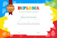 Kids Diploma Or Certificate Template With Colorful Background intended for Free Kids Certificate Templates