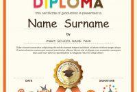 Kids Diploma School Certificate Template Vector Image in Free School Certificate Templates