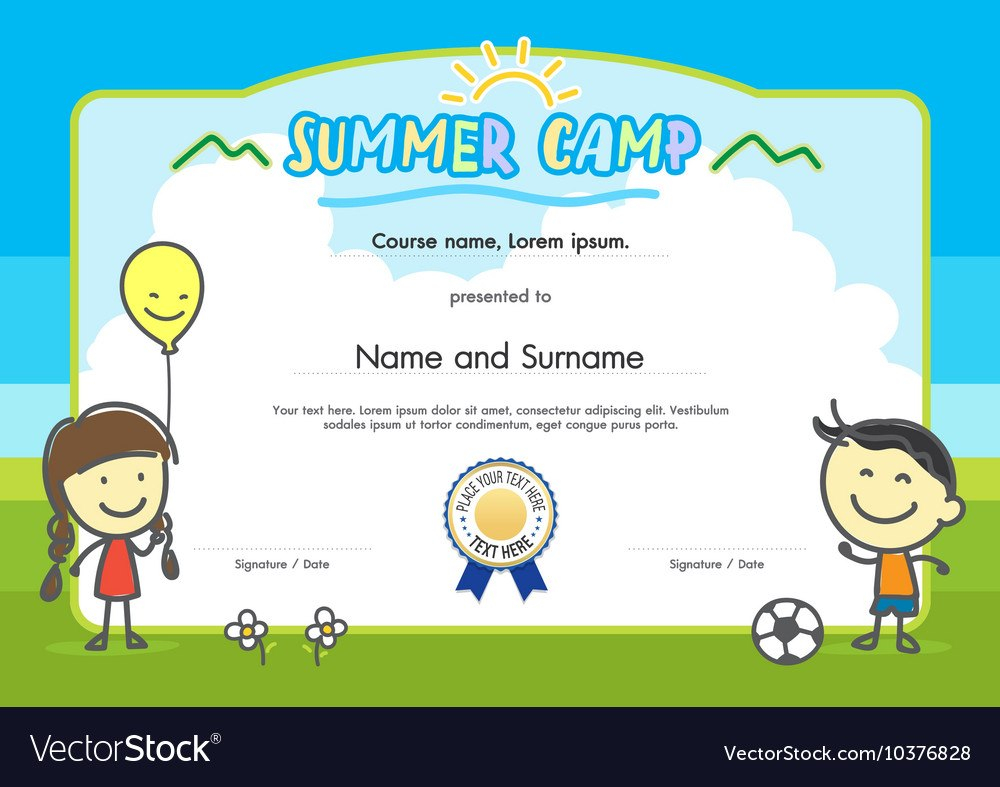 Kids Summer Camp Certificate Document Template Vector Image Within Summer Camp Certificate Template