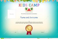 Kids Summer Camp Diploma Or Certificate Template Award Ribbon An within Summer Camp Certificate Template