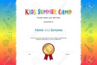 Kids Summer Camp Diploma Or Certificate Template Award Seal With inside Summer Camp Certificate Template