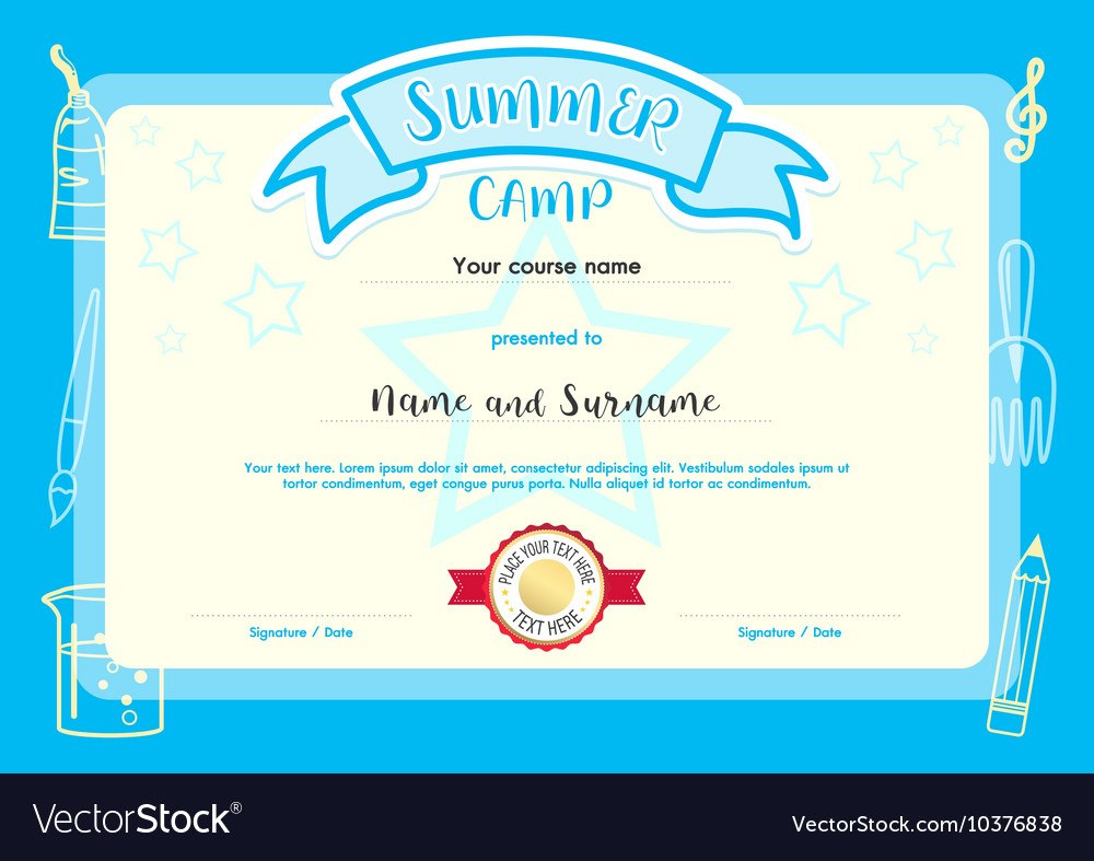 Kids Summer Camp Document Certificate Template Vector Image Intended For Summer Camp Certificate Template