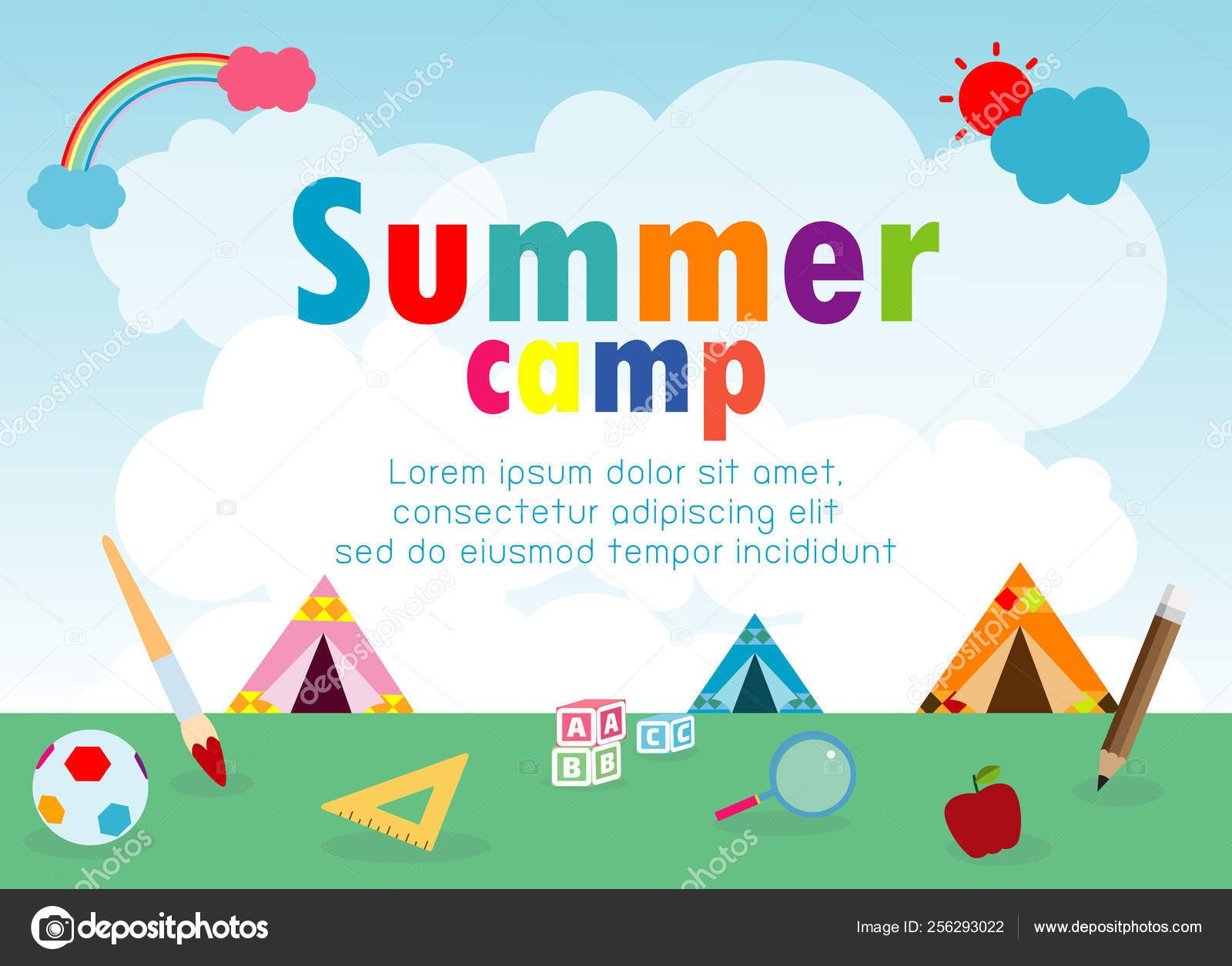 Kids Summer Camp Education Concept Template Advertising Brochure With Regard To Summer Camp Brochure Template Free Download