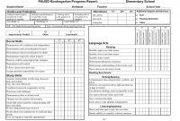 Kindergarten Progress Report Template  Ideas Middle School inside School Report Template Free