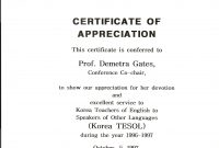 Kotesol Presidential Certificate Of Appreciation  Conference within Army Certificate Of Appreciation Template