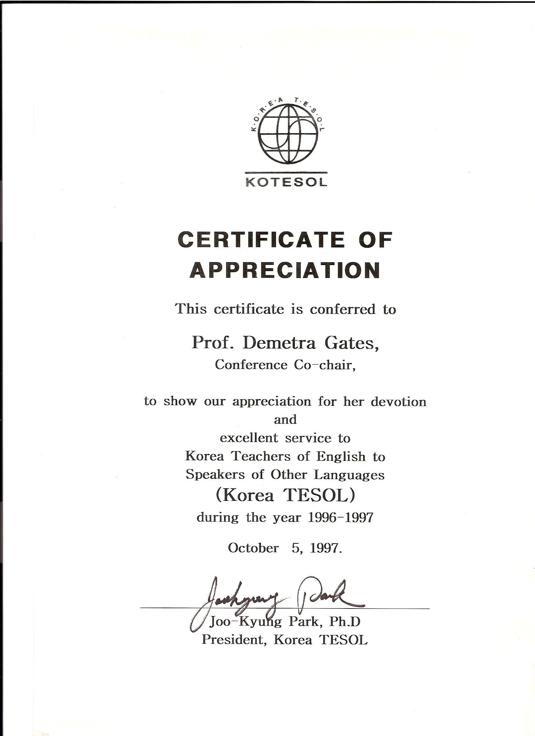 Kotesol Presidential Certificate Of Appreciation  Conference Within Army Certificate Of Appreciation Template