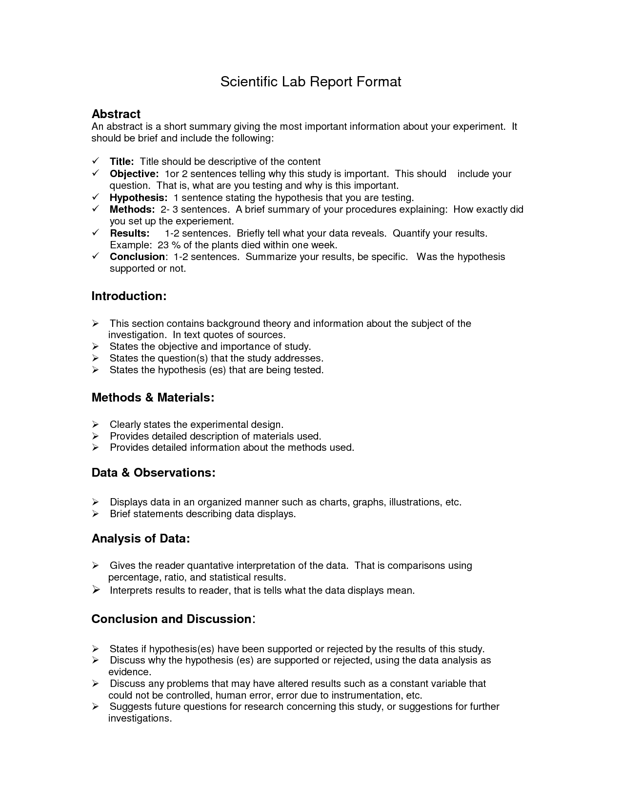 Lab Report Format Doc  Environmental Science Lessons  Lab Report Regarding Science Experiment Report Template