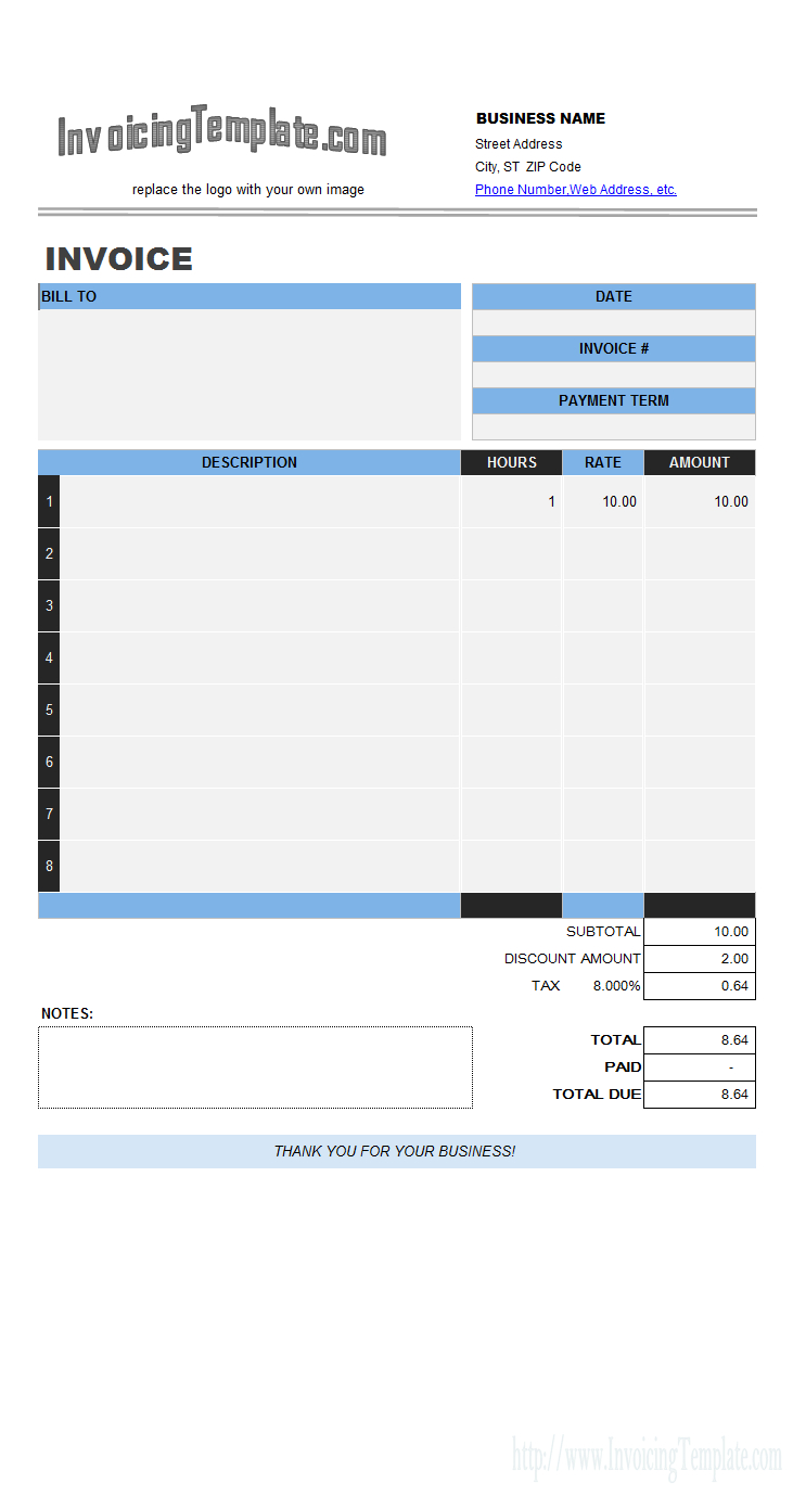 Labor Invoicing Sample Intended For Invoice Template Excel 2013
