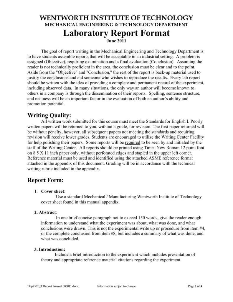 Laboratory Report Format For Engineering Lab Report Template
