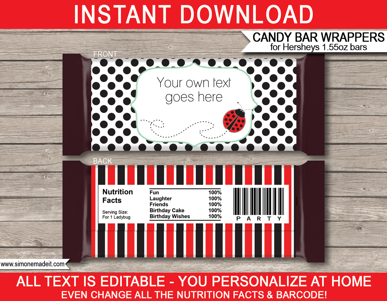 Ladybug Hershey Candy Bar Wrappers  Personalized Candy Bars Intended For Hershey Labels Template